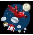 Cartoon christmas cargo airplane vector