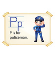 A letter p for policeman vector