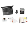 Laptop and coffee and notepad telephone vector