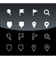 Gps and navigation icons on black background vector