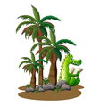 A crocodile reading near the coconut trees vector