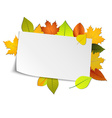 Autumn card with colored leaves in background vector