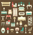 Retro style furniture icons silhouettes vector