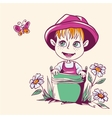 Funny little girl in a pink hat vector