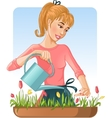 Woman watering her flowers with can vector