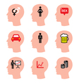 Head man thoughts icons set vector