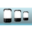Smart phones set on abstract blue background vector