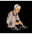 Dj wearing headphones and scratching a record on vector
