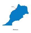 Detailed map of morocco and capital city rabat vector