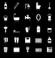 Bathroom icons with reflect on black background vector