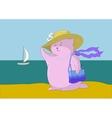 Woman - a fantastic toy animal on the beach vector