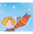 Christmas girl in funny scarf background vector