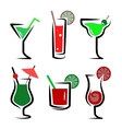 Set of cocktails soft and long-drinks vector