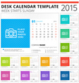 Desk calendar 2015 template week starts sunday vector