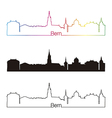 Bern skyline linear style with rainbow vector