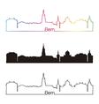 Bern skyline linear style with rainbow vector