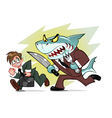 Businessman and business shark vector