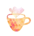 Triangle cup of tea or coffee with doodle steam vector