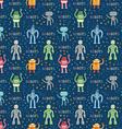 Cartoon robots blue seamless pattern vector