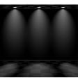 Black empty room with checkered floor vector