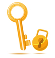 Gold key business icon cartoon vector