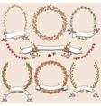 Floral laurels ribbons wreaths vector