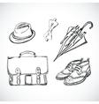 Gentleman sketch handdrawn set vector