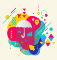 Umbrella on abstract colorful spotted background vector