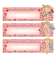 Valentines day banners with cupid vector