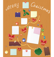 Board with bauble bow holly berry and post vector
