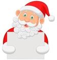 Santa cartoon holding blank sign vector
