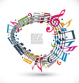 Colorful music background with clef and notes vector