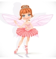 Beautiful little fairy girl in pink dress and vector
