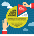 Human hands with pie chart - infographic concept vector