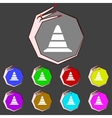 Road cone icon set colourful buttons vector