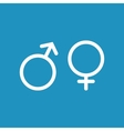 Male and female white icon on blue background vector