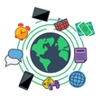 Earth surrounded web social and media icons vector