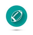 Rugby ball icon on green background with shadow vector