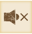 Grungy muted sound icon vector