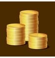 Stacks of golden coins on dark background vector