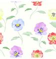 Watercolor flowers viola seamless pattern vector