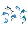 Blue marlins or swordfishes logo or emblems vector
