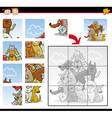 Cartoon dogs and cats jigsaw puzzle game vector