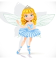 Beautiful little fairy girl in tiara and blue vector