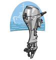 Outboard boat motor vector