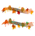 Autumn musical banner with notes vector
