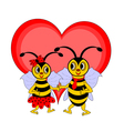 A couple of funny cartoon bees with a red heart vector