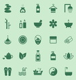 Spa color icons on green background vector