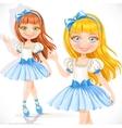Cute little ballerina girl in blue dress isolated vector