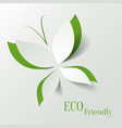 Eco concept - green butterfly cut the paper like vector